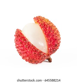 Close-up view of fresh litchi isolated on white background.