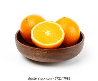 close-up view of fresh navel orange isolated on white background.