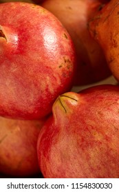 Close-up view of fresh pomegranate in the organic food market