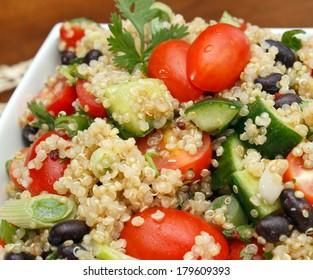 Closeup view of fresh quinoa salad