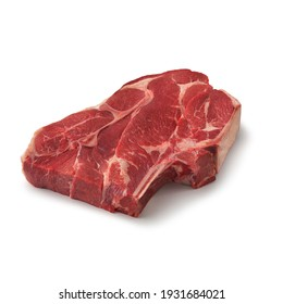 Close-up view of fresh raw 7 Bone Chuck Roast Chuck cut in isolated white background