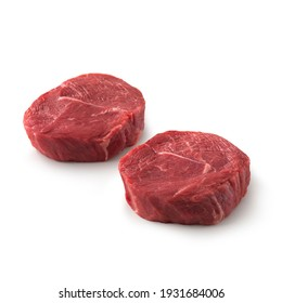 Close-up view of fresh raw Chuck Tender Steak Chuck cut in isolated white background