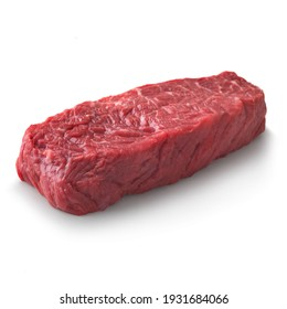 Close-up view of fresh raw Denver Steak Chuck cut in isolated white background