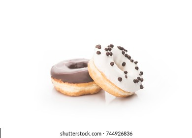 close-up view of fresh sweet donuts isolated on white