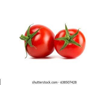 Close-up view of fresh tomato isolated on white background.