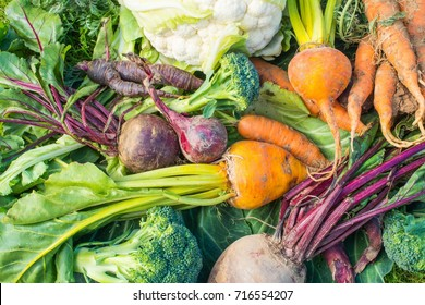A Closeup view of fresh vegetables. carrots, cauliflower, purple carrots, red onions, broccoli, beetroot and yellow beetroot.