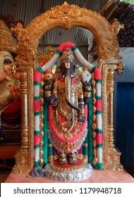 Closeup view of God Ganesha  idol as God Balaji or Venkateswara,made out of POP material,for worshiping in Ganesh Chathurthi festival