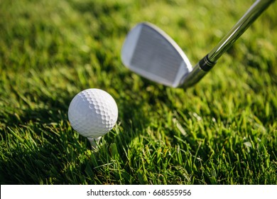 Close-up view of golf club and ball on green grass
