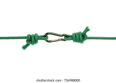 close-up view of green ropes with carabiner isolated on white