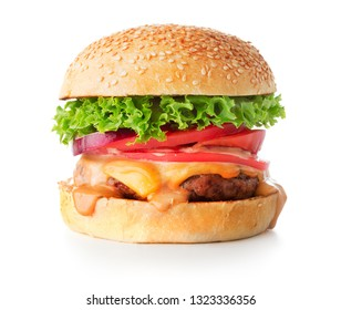 close-up view of hamburger isolated on the white background