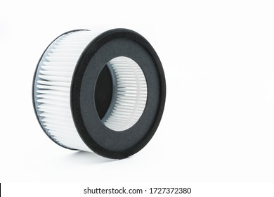 Close-up view of the hepa filter isolated on the white background.
