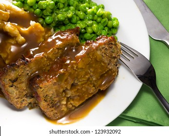 Close-up view of a homemade meatloaf meal