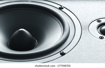 Closeup view of huge black bass speaker with high quality membrane