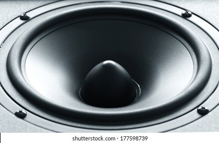 Closeup view of huge black bass speaker with high quality membrane. This kind of speaker is capable to reproduce low frequency deep sounds.