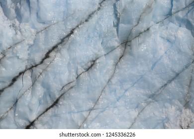 Close-up view of the ice of the Perito Moreno glacier, Patagonia, Argentina