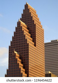 Close-up View of Iconic Downtown Houston Skyscraper at Sunset - Houston, Texas, USA