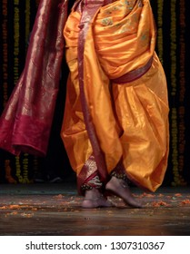 Closeup view of Indian Lavani folk dancer,popular in Maharashtra