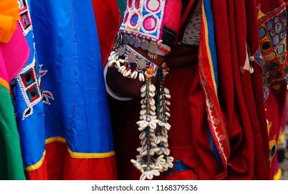 Closeup view of Indian nomadic tribal lambadi woman traditional dress,silvery jewelry and costume in Kajal Teej or Monsoon Festival  in Hyderabad,India