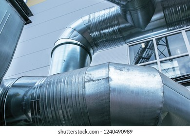 Close-up view of the industrial big diameter ventilation ducts