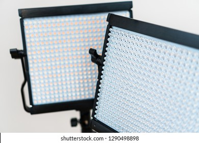 Close-up view of led lamps. Video light.