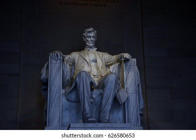 Closeup view of Lincoln memorial - copy space