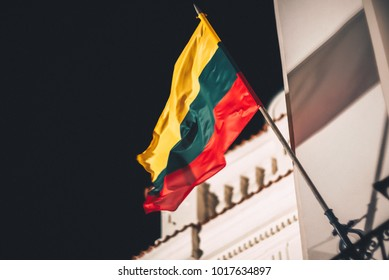 Closeup view of Lithuanian flag in the wind. Lithuania celebrating 100-year independence anniversary