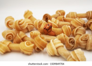 Closeup view of little dog made from leather sits among knotted bones or rawhide or dog bone on white background ,feeling excite ,surprise, enjoy , fulfilled ,focus on the dog in the middle