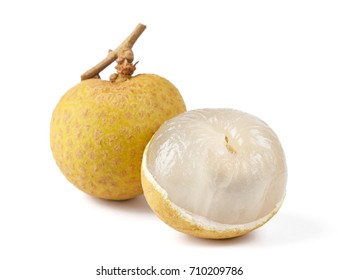 Close-up view of longan isolated on white background.