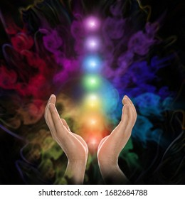 Closeup view of man and chakra points. Healing energy