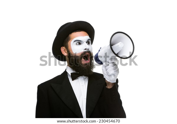 Close-up view of man shouting into a megaphone, isolated on white background