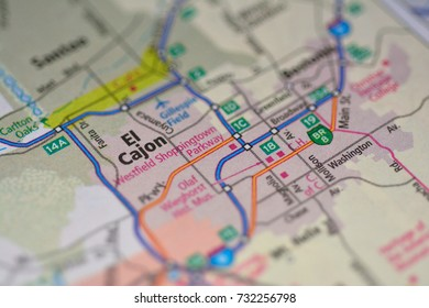 Close-up view of the map of the main streets of El Cajon California, USA October 2017