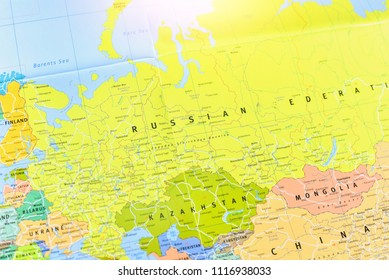 Close-Up View of Map of the Russian Federation and its Neighbouring Countries