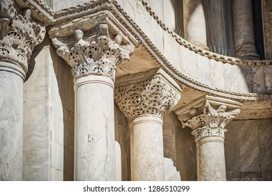 Close-up view of marble columns at facade of Basilica di San Marco in Venice, Italy