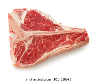 close-up view of marble t-bone steak isolated on white background