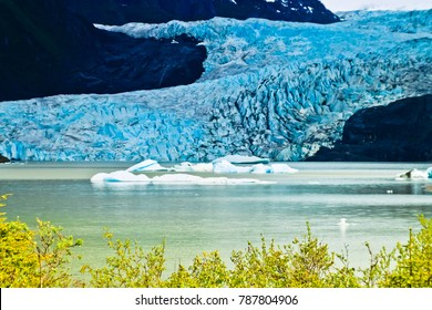closeup view of mendenhall glacier juneau  alaska usa