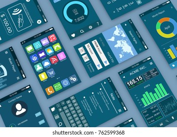 close-up view of mobile apps mockup (3d render)
