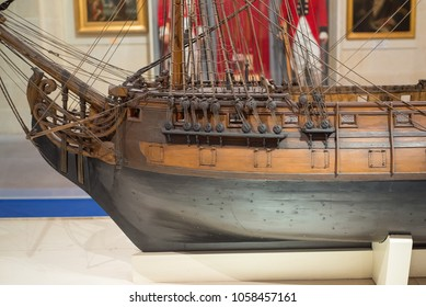 Close-up view of model of Galleon  at the Malta Maritime Museum. Birgu, Malta. 8 March 2018