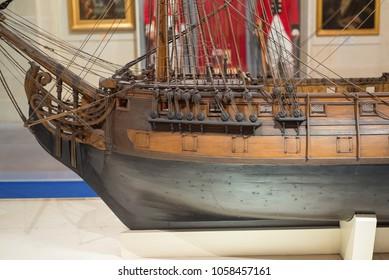 Close-up view of model of Galleon  at the Malta Maritime Museum. Birgu, Malta. 8 March 2018