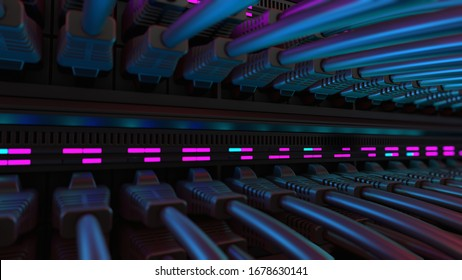 Close-up View of Modern Internet Network Switch With Plugged Ethernet Cables. Blinking Lights on Internet Server. Concept of Data Center, Cloud Computing and Telecommunications.
