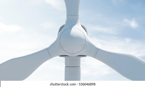 Close-up View of Modern Wind Turbine on beautiful clouds background with Sunshine. 3D Rendering