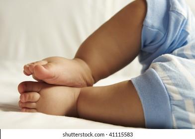 closeup view of newborn baby feet