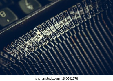 Closeup view of old typewriter keys