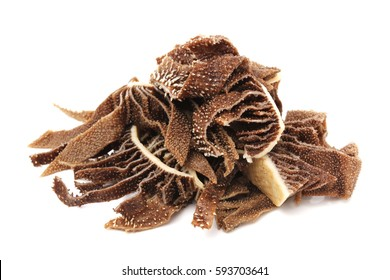Close-up view of omasum isolated on white background,Top view of beef honeycomp tripe.