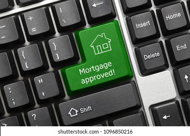 Close-up view on conceptual keyboard - Mortgage approved (green key)