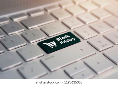 Close-up view on conceptual keyboard - Black Friday. Online shopping at a discount. Sale day in the online store.