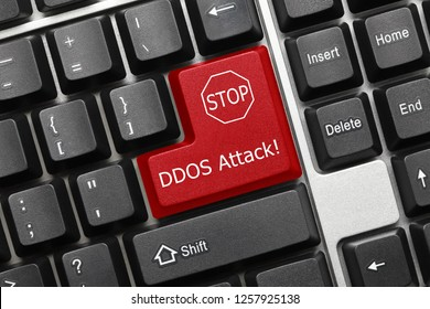 Close-up view on conceptual keyboard - DDOS Attack (red key)