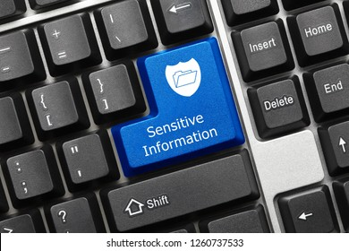 Close-up view on conceptual keyboard - Sensitive Information (blue key with shield and folder symbol)