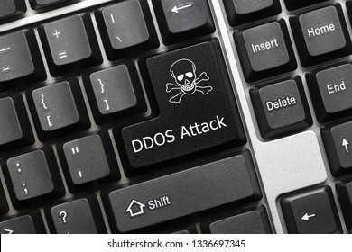 Close-up view on conceptual keyboard - DDOS Attack (black key)