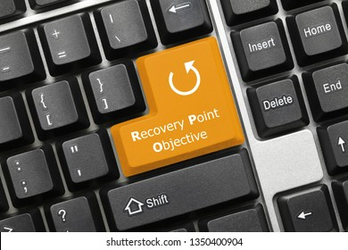 Close-up view on conceptual keyboard - Recovery Point Objective (orange key)
