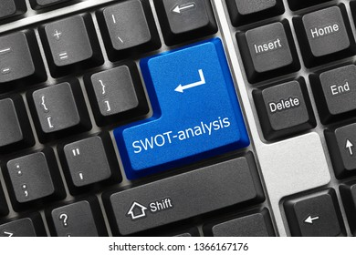 Close-up view on conceptual keyboard - SWOT-analysis (blue key)